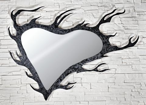 specchio parete forma di cuore