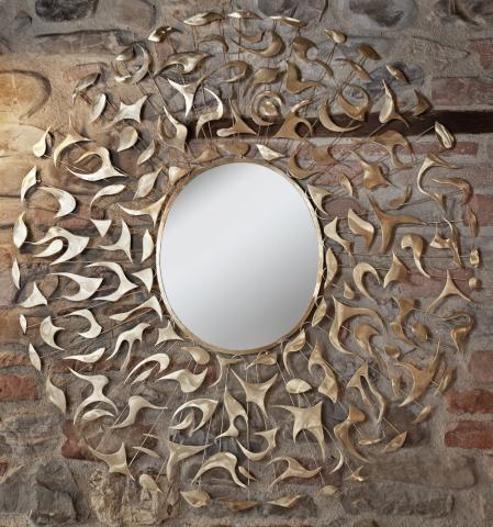 specchio parete forma circolare con decorazioni foglie autunno