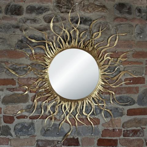 specchio parete forma circolare con ramificazioni
